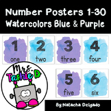 Number Posters 1-30 (Watercolors Blue & Purple)