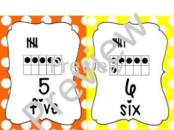 Number Posters - 1 through 20 with ten frames and tally marks Classroom Decor