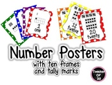Number Posters - 1 through 20 with ten frames and tally ma