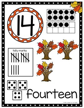 Math - Number Anchor Charts 11-20 ~ Fall Leaves ~ Kindergarten Common Core