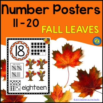 Math - Number Anchor Charts 11-20 ~ Fall Leaves ~ Kinderga