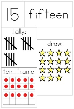 Number Posters 11 - 20, digit, spelling, tally, ten frame, draw