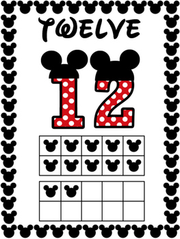 Number Posters 11 to 20 - Mickey Mouse Dot Theme - Disney