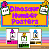 Classroom Decor : Dinosaur Number Posters (0-20 with Ten Frames)