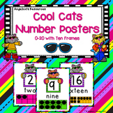 Classroom Decor : Cool Cats Number Posters (0-20 with Ten Frames)