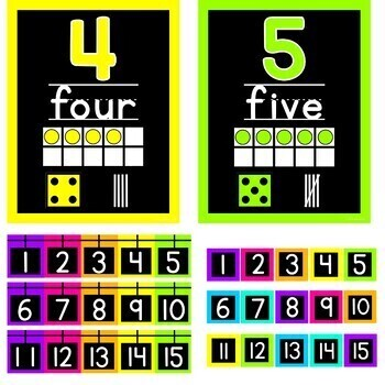 Neon Bright Number Posters with Black background