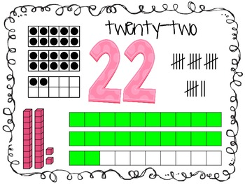 Number Posters 21-30 - squiggly border