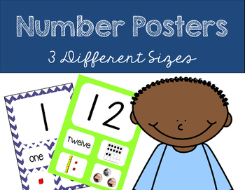 Number Posters 1-20 and -ty Numbers {Chevron Blue & Green}