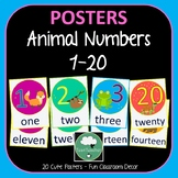 Number Posters ANIMALS Counting 1-20 in Numbers and Words