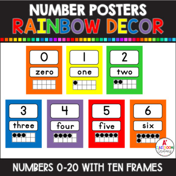 Number Posters Classic Colors {0-20 with Ten Frame, Number
