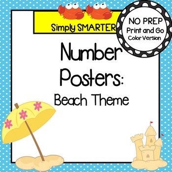 Number Posters:  Beach Theme