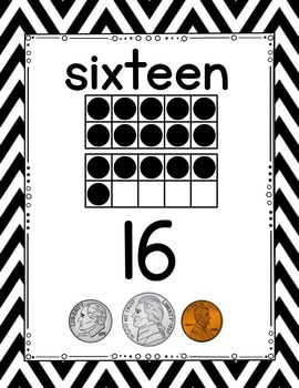 Number Posters - Black and White Chevron