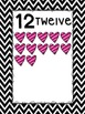 Number Posters: Black and White Chevron and Hearts Themed