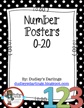 Number Posters Black and White Polka Dot