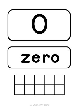 Number Posters:  Black and White {With Number, Number Word and Ten Frame}