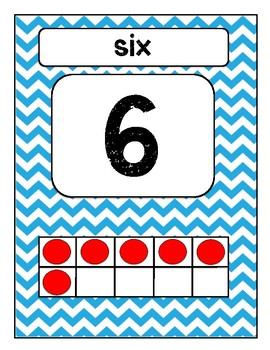 Number Posters: Blue Chevron w/ Ten Frames