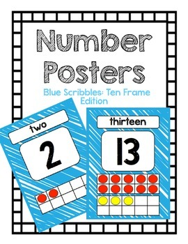 Number Posters: Blue Scribbles