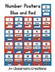 Number Posters:  Blue and Red {0-20 with Ten Frame, Number and Number Word}