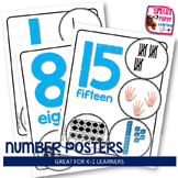 Number Posters - Blue with White Background