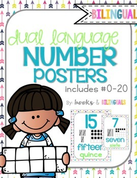 Number Posters, Blues and Arrows Theme {Dual Language}