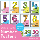 Number Posters {Bright Number Posters - Classroom Decor}