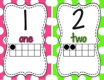 Number Posters {Bright Polka Dot}