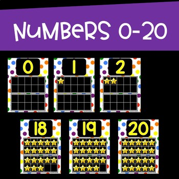Number Posters ~ Bright Rainbow colors with Ten Frames