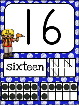 Number Posters CONSTRUCTION Themed | MULTI-COLORED