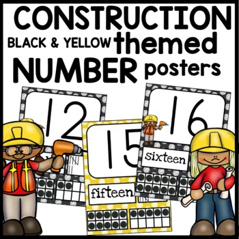 Number Posters CONSTRUCTION Themed | BLACK AND YELLOW