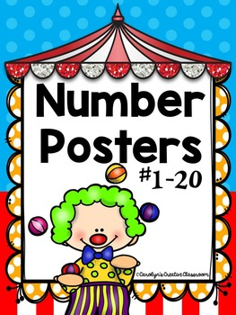 Number Posters - Carnival or Circus Theme with ten frame