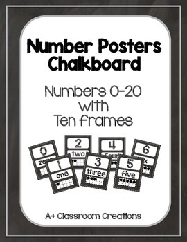 Number Posters:  Chalkboard {0-20 with ten frames and numb