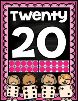 Number Posters Chalkboard Bright 0-20 Ten Frames Dice Posters Signs