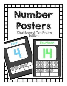 Number Posters: Chalkboard Pastel