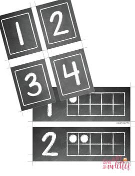 Number Posters - Chalkboard, Ten Frames, Flashcards