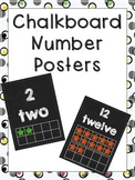 Number Posters - Chalkboard Theme