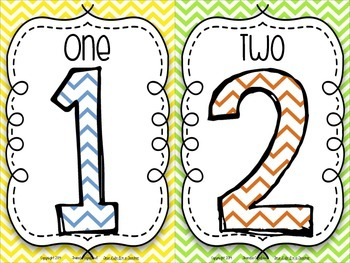 Number Posters {Chevron Brights}