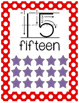 Number Posters Classroom Pack-Red and White Polka Dot