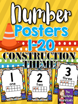Number Posters Construction Theme