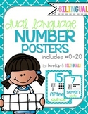 Number Posters, Cool Blues Theme {Dual Language}