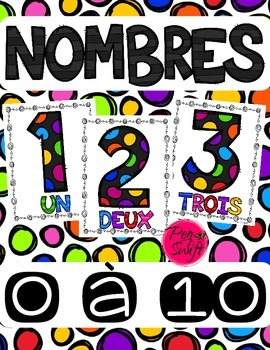 Number Posters ~ French ~ 0 à 10 Black Polka Dot