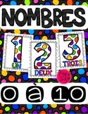 Number Posters ~ French ~ 0 à 10 White Polka Dot