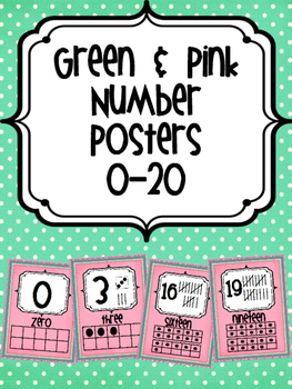 Number Posters Green and Pink
