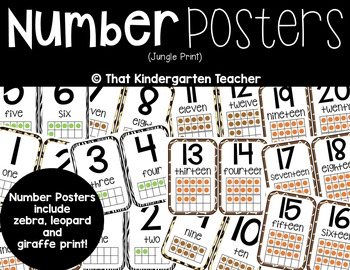 Number Posters {Jungle}