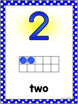 Number Posters w/ ten frames - LARGE - Polka Dot (0-30)