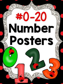 Number Posters - Ladybug or Red and Black Polka Dots