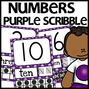 Number Posters MIX AND MATCH (PURPLE Scribble)