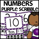 Number Posters MIX AND MATCH PURPLE Scribble Themed