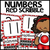 Number Posters MIX AND MATCH (RED Polka Dot Scribble)