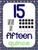 Number Posters, Navy Blue & Green Theme {Dual Language}