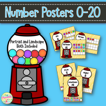 Number Posters Numbers 1-20 Landscape or Portrait